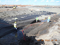October 2014 - Placing geotextile on the excavation bottom
